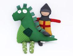 San Jorge y el Dragón, Muñecos de Tela Blanditos y Suaves para Niños y Bebés