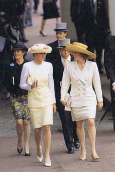Princess Diana and Sarah, Duchess of York at the Royal Ascot