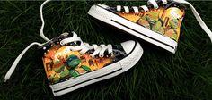 Teenage Mutant Ninja Turtles custom painted shoes,High-top Painted Canvas Shoes