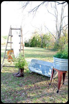 galvanized love in the garden galvan tub, yard, wash tub, garden equal