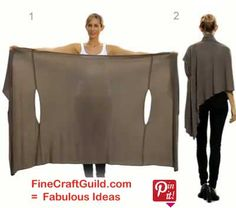 DIY Bina wrap is very simple & very clever.  It can be worn as a scarf, cardigan, poncho, blouse, shrug, stole, turtleneck, shoulder scarf, back wrap, tunic, & head scarf.  Snap fasteners on all 4 corners.  This site has a free pattern & a video on how to wrap for a multitude of looks.