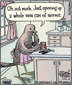 """""""Oh, not much. Just opening up a whole new can of worms."""" - Bizarro"""