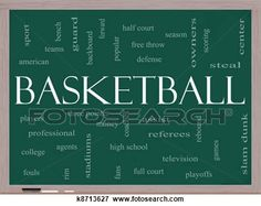 Basketball Word Cloud Concept on a Blackboard View Large Illustration