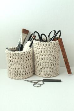 Crochet Pen Cup Holders Shabby Chic Home Office Desk Set Organic Cotton