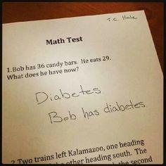 Diabetes math humor.  http://www.draxe.com #draxe #healthycomedy