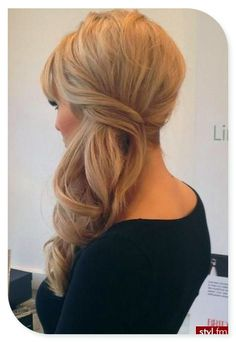 .Love this hair to the side look and the curls just makes it that much more stunning. Maybe for bridesmaids.