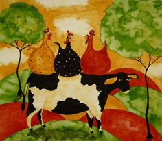 Hubbs Children Art Folk Prints Farm Animals Cow Chickens. $25,00, via Etsy.