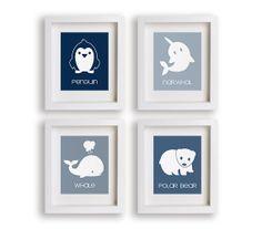 Arctic Animals - Set of Four Art Prints - Nursery Decor, Polar Bear, Antarctica, Nursery Art, Kids Wall Art, Children Decor, Penguin