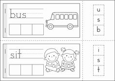 Kindergarten Back to School Math & Literacy Worksheets and Activities. 135 pages. A page from the unit: School words build-a-word cut and paste booklet