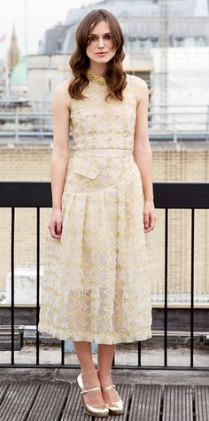 Keira Knightley struck gold at the Begin Again photocall in metallic threads; she wore a sheer embroidered floral-check Simone Rocha dress with mirrored Mary Janes.