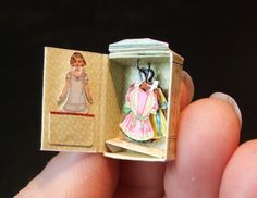TINY Paper Doll with wardrobe....made in a matchbox