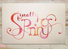 Finally Spring by Frederikke Tu for Ojolie.com, Hand painted watercolor ecard  | Ojolie.com