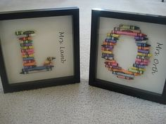 Crayon Letters in Shadow Box - I completed this craft for 3 teachers and they turned out pretty cute.  This blog had a good tutorial of how to make it work, plus templates!