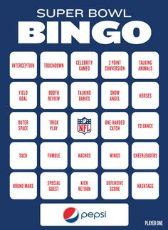 Super Bowl Bingo To Play During The Big Game