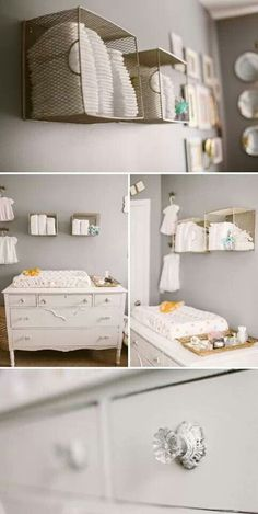Love the wire baskets for storage above the dresser/changing table