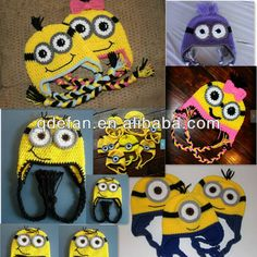 Animal knit caps free knitting animal patterns minion crochet beanies, View animal knit caps, EFANBABY Product Details from Jimo Efan Access... { IDEAS FOR MINION HATS ESPECIALLY GIRLS,JJB} crochet hat, animal hats, minion hat, animal patterns, aprendiendo crochet, minion crochet, crochethat, gorros crochet animales, knitting animals pattern