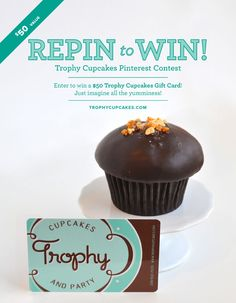 You could win a $50 gift card to Trophy Cupcakes! Repin this image, then email your board link to social at trophycupcakes dot com with subject line PINTEREST. You can also enter on Facebook and Twitter: http://a.pgtb.me/d7FG3p