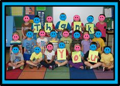 "Take a class pic of kids holding ""Thank you"".  Make several copies for thank you notes throughout the year.   (From blog post about having an 'attitude of gratitude.')"