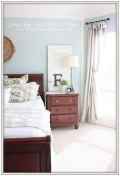 From My Front Porch To Yours- French Farmhouse Bedroom Makeover-SW 6211 Rainwashed Love the plank walls
