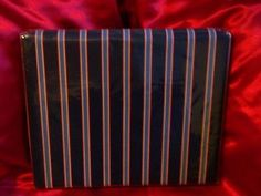 TOMMY HILFIGER NAVY BLUE RED MEDIUM BLUE STRIPE SHOWER CURTAIN 72 X 72 $28.99