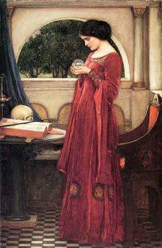 John William Waterhouse: The Crystal Ball (Restored Version) crystals, artists, balls, crystal ball, private collection, caves, paint, john william waterhouse, canvases