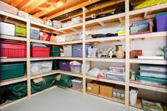 Low cost, but super sturdy storage for the garage. Paint the wood for a more finished look.
