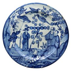 Antique Period Delft Pottery Charger or Dish Chinoserie Scene Mid 18th Century | From a unique collection of antique and modern pottery at https://www.1stdibs.com/furniture/dining-entertaining/pottery/
