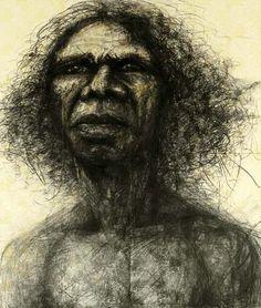 Craig Ruddy, Two Worlds - Portrait of David Gulpillil.  Award winning sketch, Archibald Prize 2004.