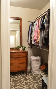 Young House Love - love the dresser and large mirror in the closet
