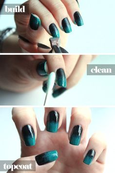 DIY: OMBRE NAILS  http://www.chictopia.com/photo/show/556478-DIY+OMBRE+NAILS-black-accessories-teal-accessories