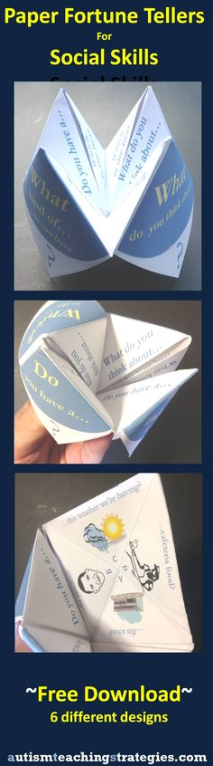 """Another version of social skills paper """"fortune tellers.""""  Six available."""