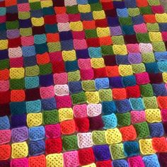 Colorful #crochet WIP squares from Itsy Bitsy Spider
