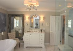 "Paint Color: Cabinets are ""Benjamin Moore White Dove"" and the walls are  ""Benjamin Moore HC-172 Revere Pewter"".    Interior Design by Eliz..."