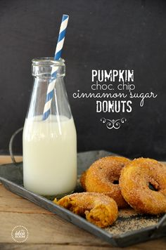 chocolate chips, donut recip, food, baked doughnuts, chocol chip, pumpkin donut