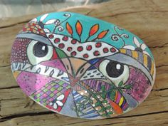 Doodle+art+owl+hand+painted+on+Lake+Erie+beach+by+TheSeashoreStore,+$20.00