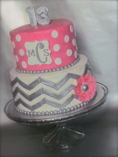 Chevron Cakes | In: Chevron Polka Dot Monogram cake in album: Birthday Cakes birthday parti, polka dots, pink chevron cake, monogram cake, chevron polka, dot monogram, chevron birthday cake, chevron cakes, birthday cakes