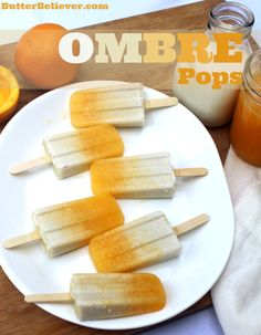 Oranges & Coconut Creamsicle -- OMBRE pops! So fun and easy.