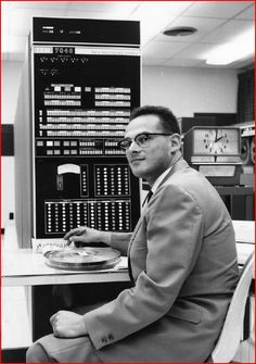 N. V. Findler with computers, 1964 -  Portrait Print Collection (University of Kentucky)
