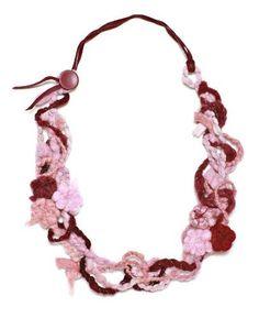 "$24.99 JousJous Purple Handmade Felt Flower Maze Necklace, 23"" Long JousJous #designer #necklace #gifts"