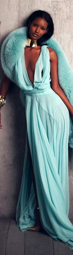 I love this aqua gown!!! & the fur...fantastic look! And is that Fatima from ANTM?! long dresses, fashion clothes, color, tiffany blue, travel fashion, evening gowns, mint, the dress, aqua gown