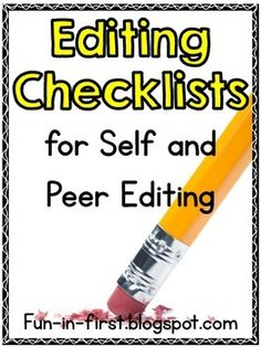 Editing Checklists for Self and Peer Editing {Freebie}