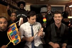 """Robin Thicke, Jimmy Fallon, and the Roots Knew You Wanted 'Blurred Lines' on Kids' Instruments Black Thought raps a verse on video in tradition of """"Call Me Maybe"""" clip"""