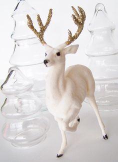 #Vintage Flocked #White #Gold #Christmas Deer #Glitter Antlers