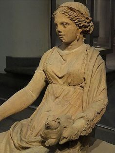 Etruscan Votive Statue of Kore from a sanctuary in the Valle Ariccia Roman C.350 BCE