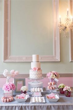 pink and gray chevron dessert table ideas