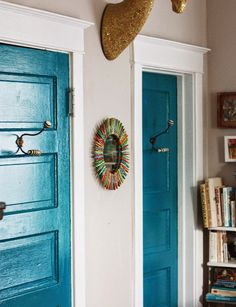 teal blue interior doors & diy clothespin mirror