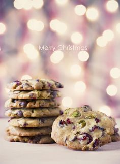 cranberry & pistachio cookies. Oh the hubby is diggen these.