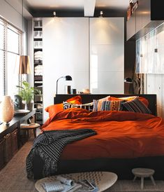 I love this, but I don't have the right color furniture or natural lighting to pull it off. The color scheme and harmony is spot-on though. Consider it an indirect inspiration. bedroom interior design, bedroom decor, orang, small bedrooms, color schemes, ikea bedroom, bedroom inspir, bedroom designs, bedroom interiors