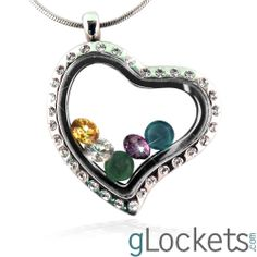 """Heart Glass locket to fill with tiny birthstones <3 Get 20% off with code """"violet""""."""