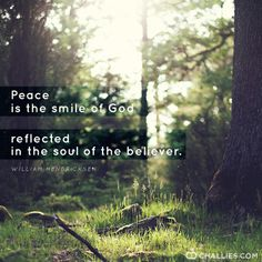 """""""Peace is the smile of God reflected in the soul of the believer."""" (William Hendricksen)"""